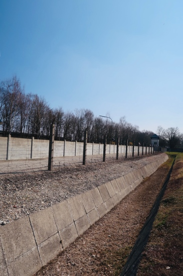 Enclosed Fence area. Each of these had a trench, then a barbwire fence, then a cement fence. Towers lined various points.